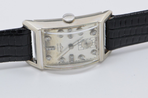 Men's Vintage 14K White Gold Longines Watch with Diamonds, Circa 1950's