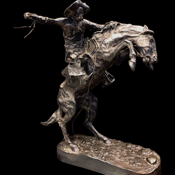 Frederic Remington's 'The Broncho Buster' Pure Silver Cast from Original Mold