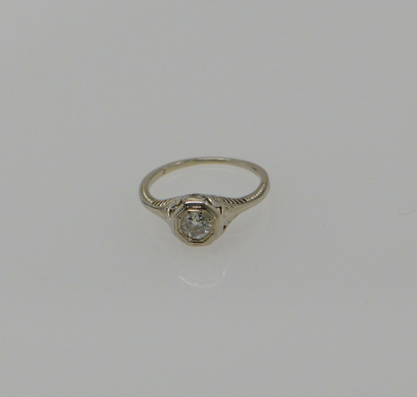 Vintage Platinum Filigree Diamond Ring Circa 1920, Size 5