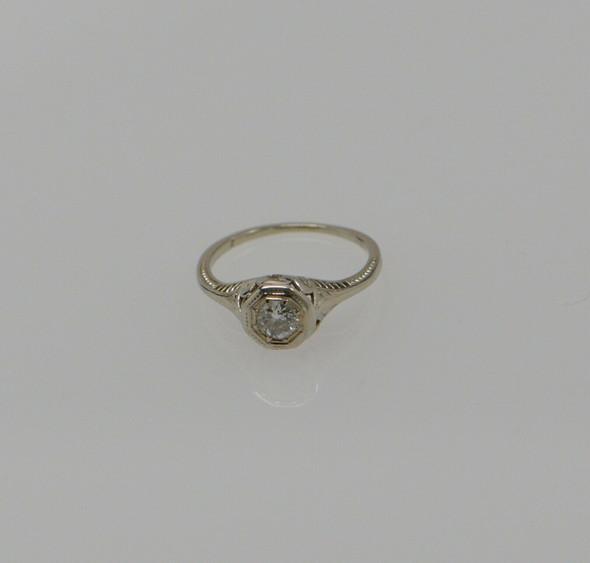 Vintage Platinum Filigree Diamond Ring Circa 1920, Size 5