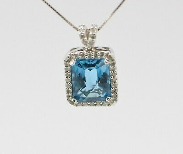 """14K White Gold Blue Topaz Pendant app. 5 ct. with 18"""" Box Link White Gold Chain"""