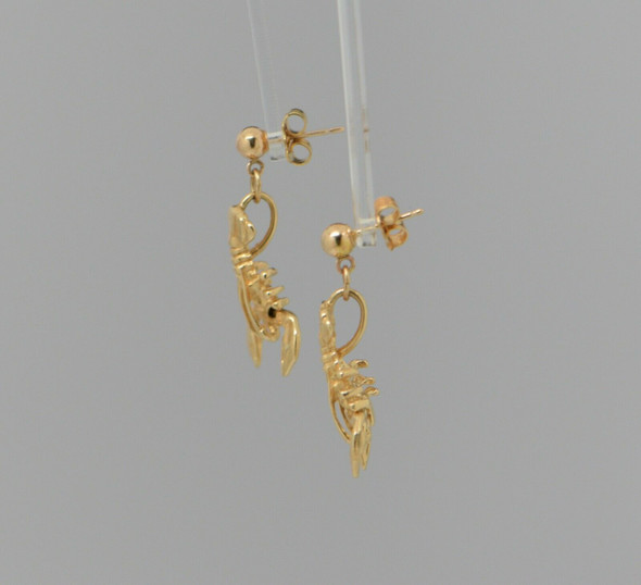 14K Yellow Gold Lobster Pin and Earring Set, Circa 1970