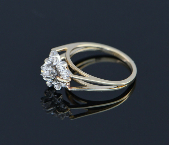 14K Yellow Gold Diamond Halo Ring with 3.3mm. Center Stone Circa 1960, Size 5.25