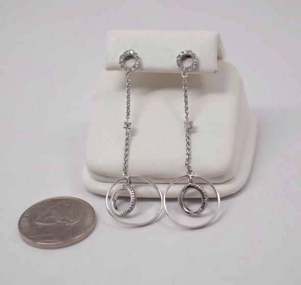 """14K White Gold Diamond Set Ear Pendants, 1 3/4"""" Drop"""