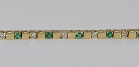 14K Yellow Gold Diamond and Emerald Bracelet, Circa 1950