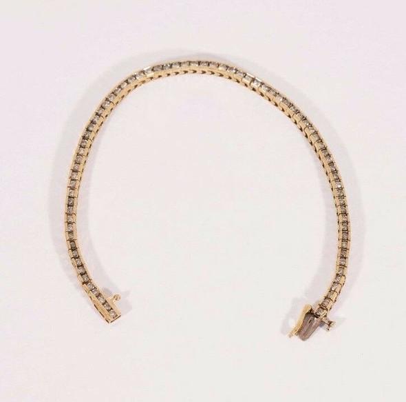 "14K Yellow Gold 3 ct. tw. Diamond Tennis Bracelet, 7"" long,  9 grams."