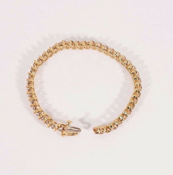 "10K Yellow Gold 3 ct. tw. Champagne Colored Diamond Bracelet 7"" long, 13 grams"