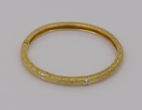 18K Yellow Gold Diamond Set Hinged Bangle Bracelet, 1/2 ct. tw.