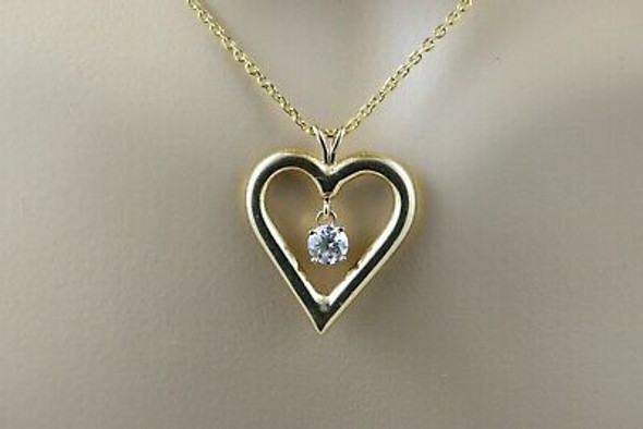 14K Yellow Gold Heart Shaped Pendant with Floating Diamond and Chain
