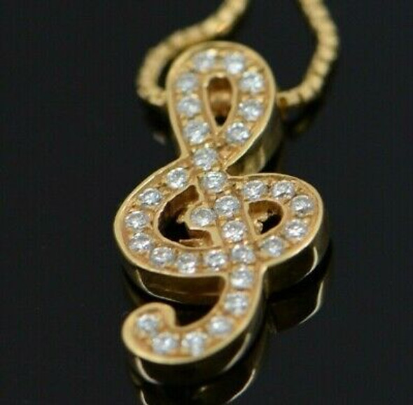 """14K Yellow Gold """"G"""" Clef Shaped Pendant with Diamonds on 14"""" Box Chain"""