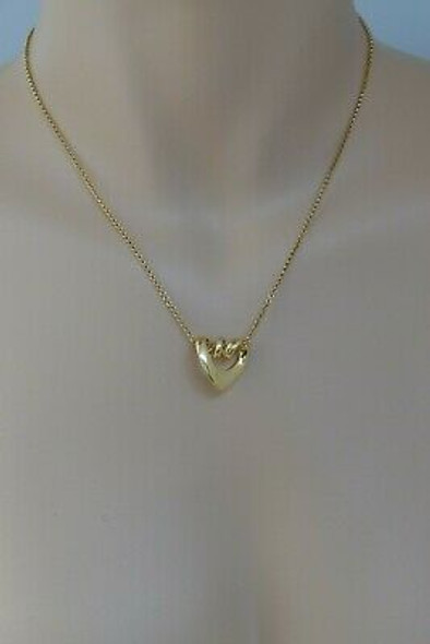 "18K Yellow Gold Georg Jensen Necklace with Looped Heart Pendant, 16"" Chain"