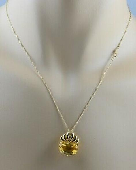"14K Yellow Gold Citrine Pendant on 18"" Chain"