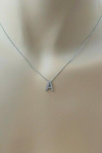 "Tiffany & Co. .950 Platinum Letter ""A"" Diamond Pendant Necklace 16"""