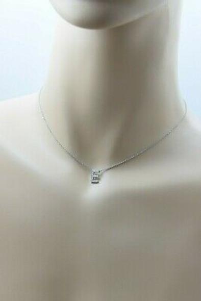 "Tiffany & Co. .950 Platinum Letter ""E"" Diamond Pendant Necklace 16"""