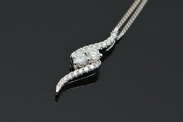"14K White Gold ""Ever Us"" Pendant with Diamonds on 18"" Chain"