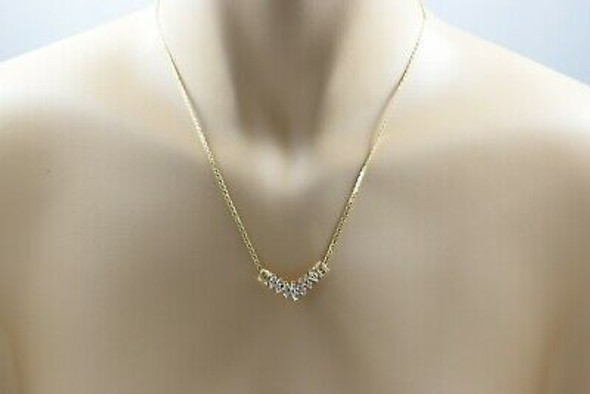 14K Yellow Gold Necklace with 7 Central Marquise Diamonds & 6 Round Side Stones