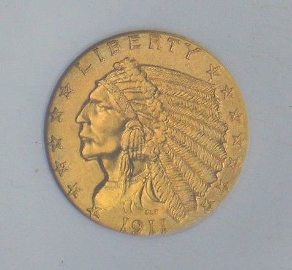 "1911-D Indian Head $2.50 Gold NGC CAC MS-64 ""Key Date, Superb Quality"""