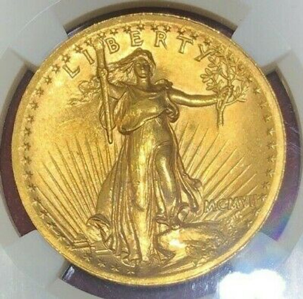 1907 High Relief, Wire Rim $20.00 Gold Saint Gaudens, NGC MS 63