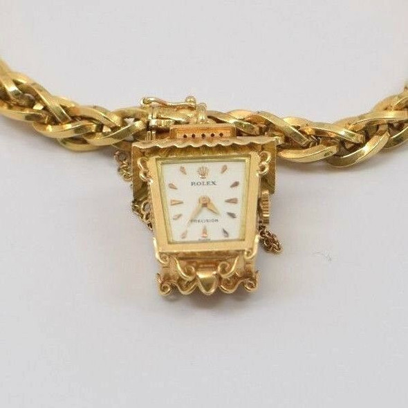 18K Yellow gold Rolex Chinese Lantern Watch on Rolex Bracelet, Circa 1950