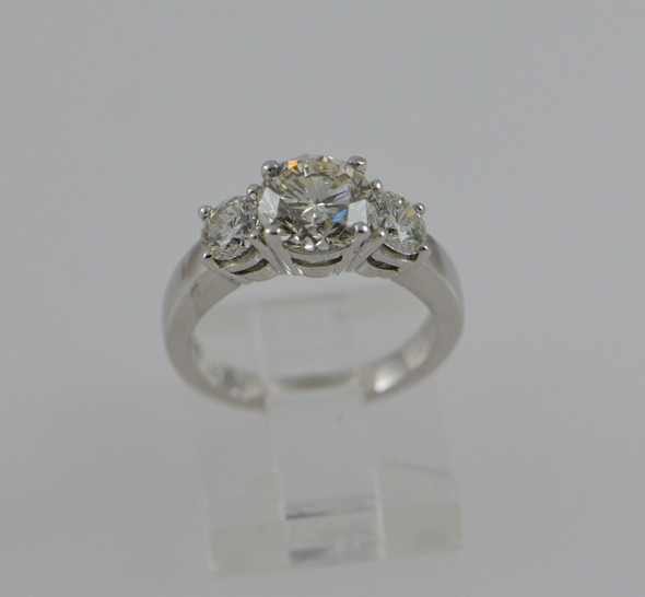 14K White Gold 3 Stone Diamond Ring, 2.4 ct tw, Circa 1950's, Size 4.25