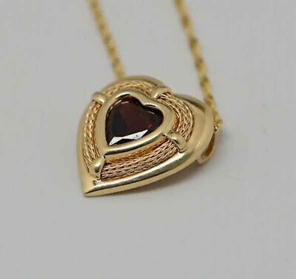 "14K Yellow Gold Heart Shaped Garnet Pendant on 20"" Chain"