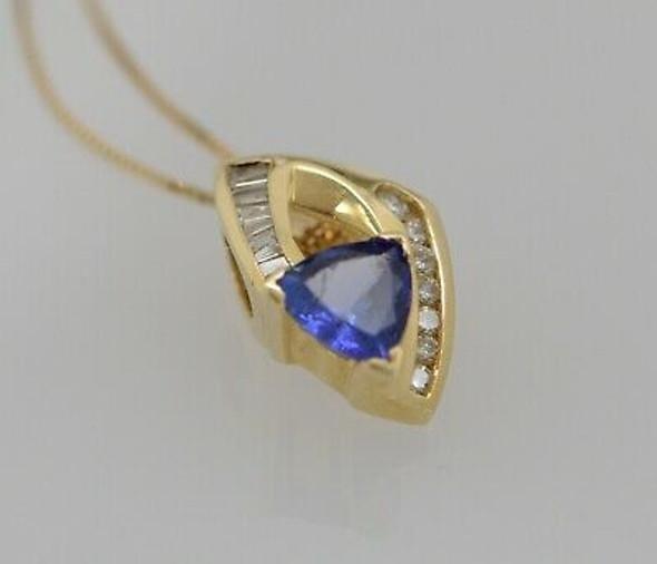 14K Yellow Gold Tanzanite and Diamond Pendant on Chain