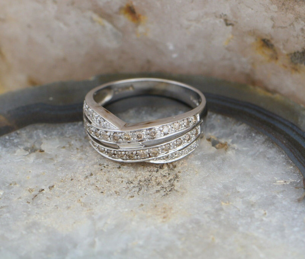 14K White Gold Diamond Ring with White and Champagne Diamonds, Size 10