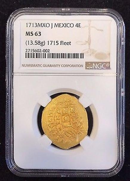 1713 MXO J Mexico 4 Escudos NGC MS-63 (1715 Fleet)