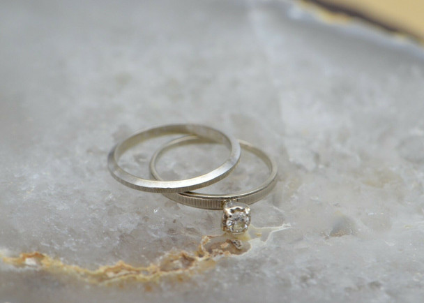 14K White Gold Diamond Solitaire with Matching Band, H SI2, Size 7.5
