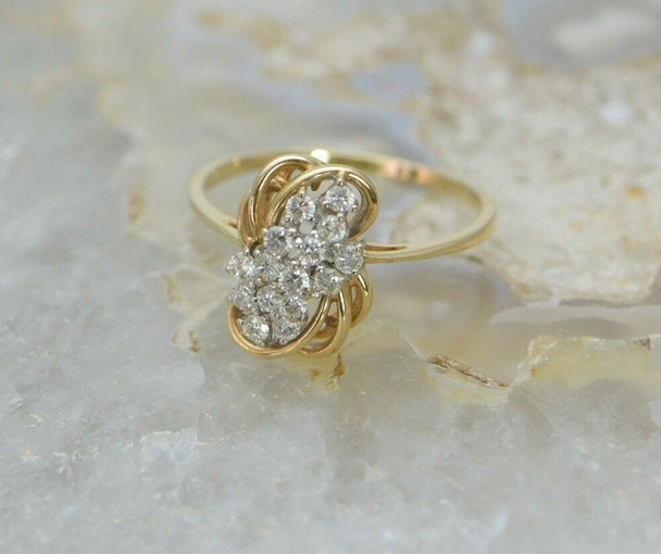 14K Yellow Gold Diamond Cocktail Ring, H SI1, Size 11, Circa 1960