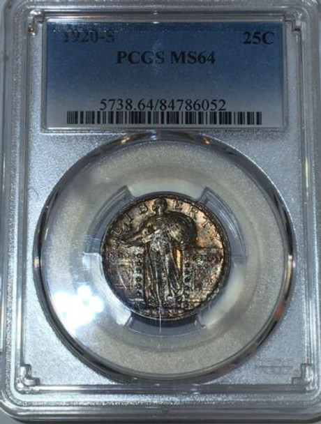 1920-S PCGS MS 64 Standing Liberty Quarter Gem Toning, Full Head (not denoted)