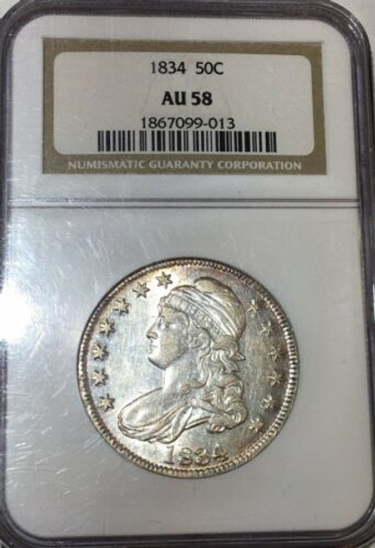 1834 Philadelphia Mint Silver Capped Bust Half Dollar NGC AU 58