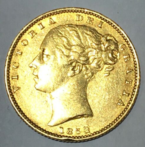 1853 Great Britain Gold Sovereign Raised WW