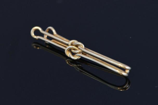 Cartier 14K Yellow Gold Double Knot Tie Bar-Money Clip, Circa 1970