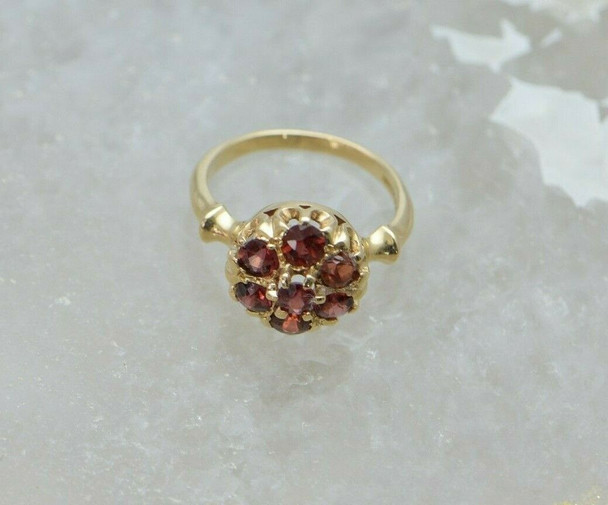 14K Yellow Gold Ruby Rosette Ring, Circa 1950, Size 4.75