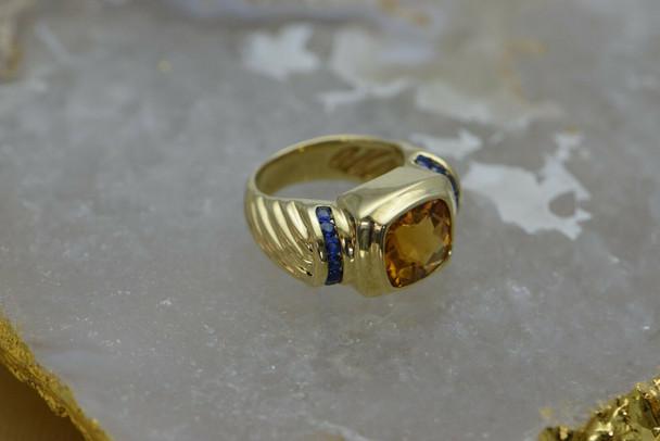 14K Yellow Gold David Yurman Sapphire & Citrine Ring, Modern Classic, Size 6