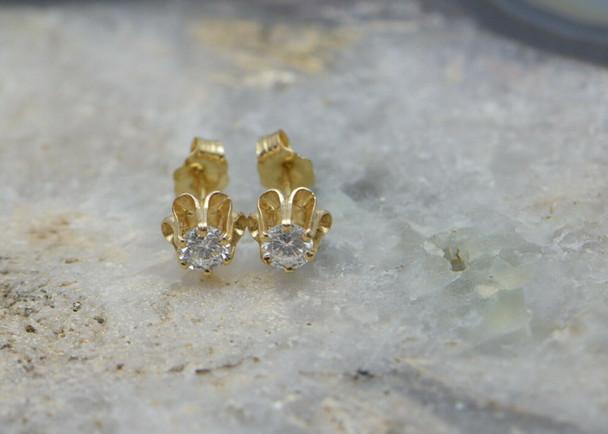 14K Yellow Gold Diamond Studs, 4mm Stones, 1/2 ct tw, G SI1, Circa 1970