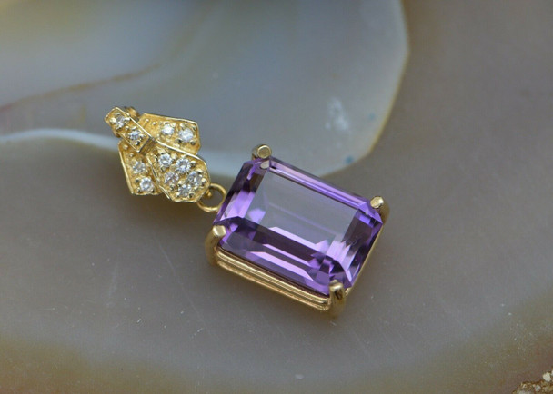 14K Yellow Gold Amethyst & Diamond Pendant, Pearl Enhancer, Circa 1980