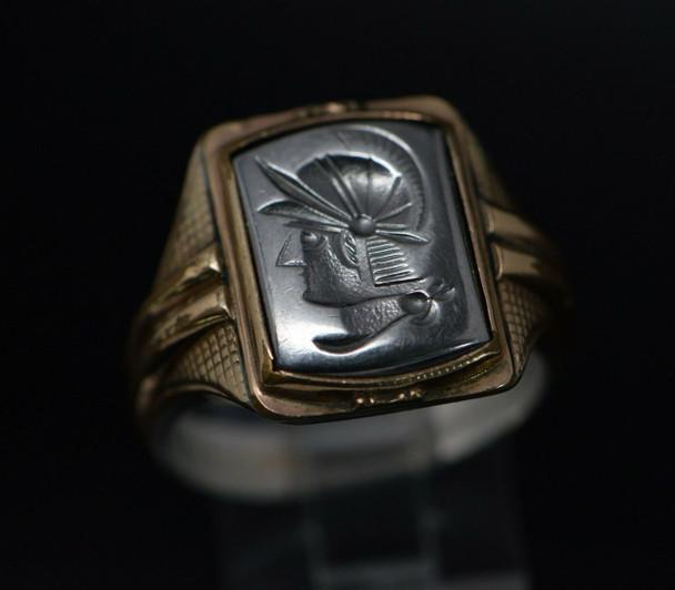 10K & Sterling Men's Hematite Intaglio Roman Soldier Head Ring, Size 10
