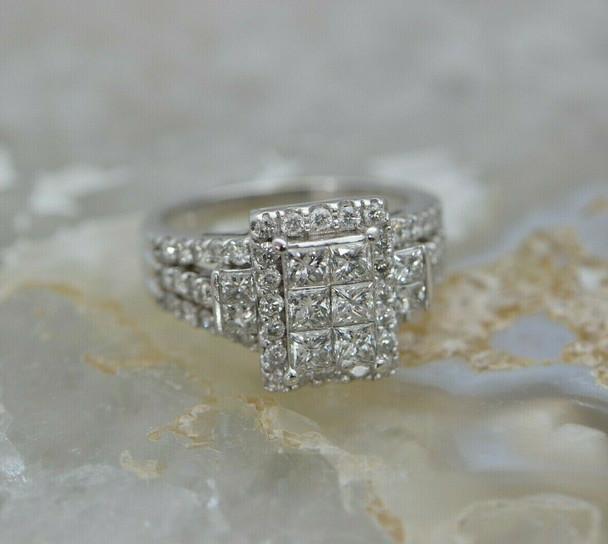 14K WG 3 ct tw est Diamond Rectangular Pave Ring Size 8