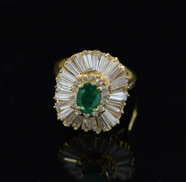 18K Yellow Gold Emerald and Diamond Cluster Ring Circa 1960's, Size 6