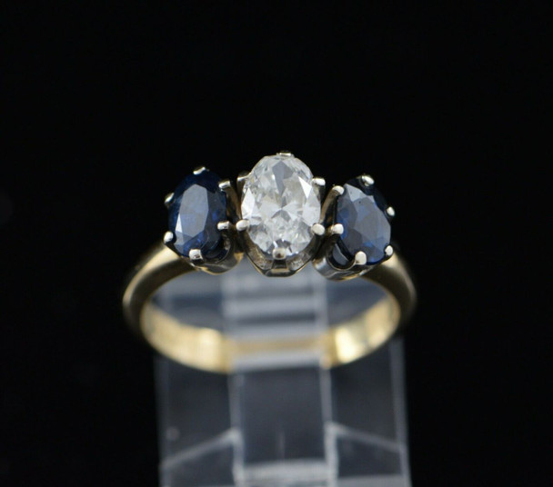 14K Yellow Gold Sapphire and Diamond 3 Stone Ring Circa 1950, Size 7