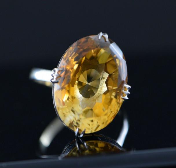 14K White Gold Large Orange Citrine Ring in Basket Setting Circa 1960, Size 8.25