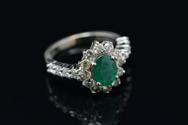 14K WG Emerald & Diamond Halo Ring, 2.5ct tw., Size 8.25