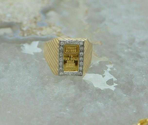 "10K Yellow Gold ""1 Gram"" Men's Gold Bar Diamond Halo ring, Circa 1990, Size 9.75"