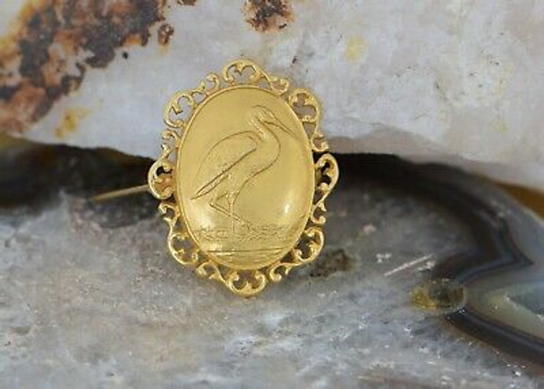 14K Yellow Gold Victorian Style Heron Pin Dated 1933