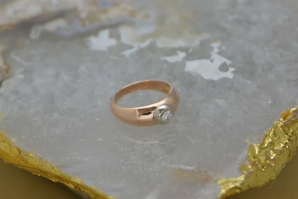 14K Rose Gold Diamond Ring, Collet Set in Yellow Gold Circa 1960, Size 7.5