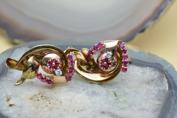 14K Yellow & Pink Gold Ruby and Diamond Ear Clips, Circa 1940's