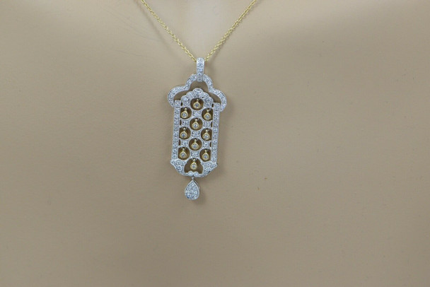 18K Yellow Gold Chain with 14K Yellow Gold Pendant Indian Window Pave Diamond