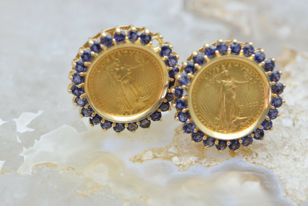 14K Yellow Gold 1/10 oz American Eagle Gold + Tanzanite Ear Clips